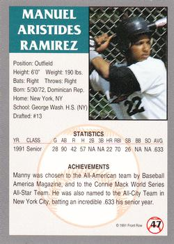 1991 Front Row Draft Picks #47 Manny Ramirez Back