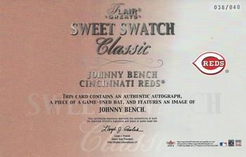 2003 Flair Greats - Sweet Swatch Classic Bat Image Autographs #NNO Johnny Bench Back