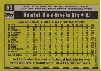 1990 Topps #69 Todd Frohwirth Back