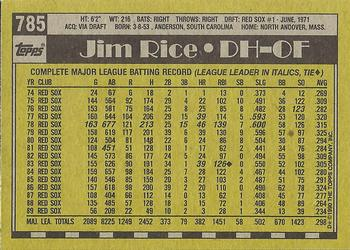 1990 Topps #785 Jim Rice Back