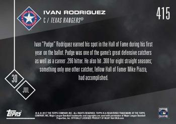 2017 Topps Now #415 Ivan Rodriguez Back