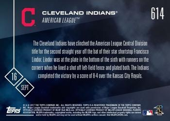 2017 Topps Now #614 Cleveland Indians Back