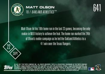 2017 Topps Now #641 Matt Olson Back