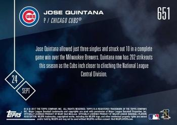 2017 Topps Now #651 Jose Quintana Back