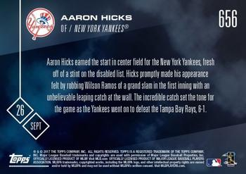2017 Topps Now #656 Aaron Hicks Back