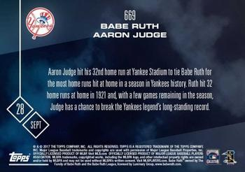 2017 Topps Now #669 Babe Ruth / Aaron Judge Back