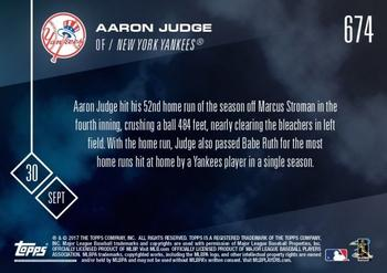 2017 Topps Now #674 Aaron Judge Back