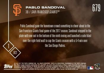 2017 Topps Now #679 Pablo Sandoval Back