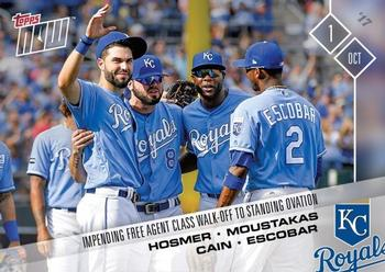 2017 Topps Now #681 Eric Hosmer / Mike Moustakas / Lorenzo Cain / Alcides Escobar Front