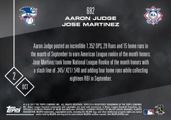 2017 Topps Now #682 Aaron Judge / Jose Martinez Back