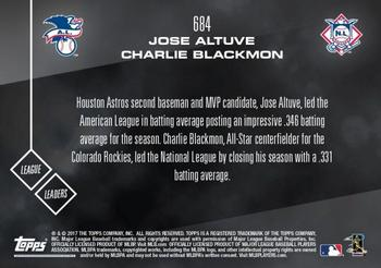 2017 Topps Now #684 Jose Altuve / Charlie Blackmon Back