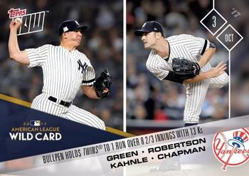 2017 Topps Now #695 Chad Green / David Robertson / Tommy Kahnle / Aroldis Chapman Front