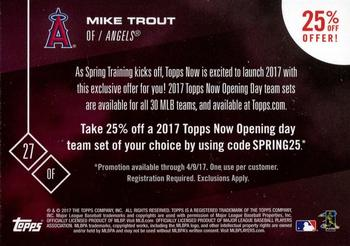 2017 Topps Now #NNO Mike Trout Back
