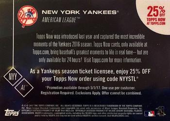2017 Topps Now #NNO New York Yankees Back