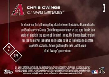 2017 Topps Now #3 Chris Owings Back