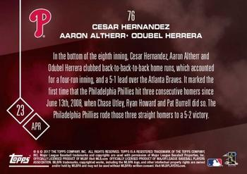 2017 Topps Now #76 Cesar Hernandez / Aaron Altherr / Odubel Herrera Back
