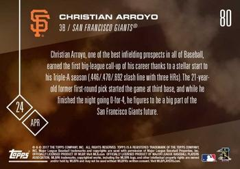 2017 Topps Now #80 Christian Arroyo Back