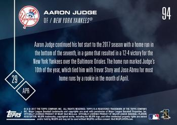 2017 Topps Now #94 Aaron Judge Back