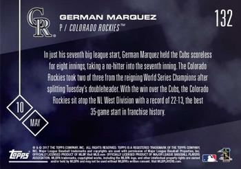 2017 Topps Now #132 German Marquez Back