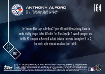 2017 Topps Now #164 Anthony Alford Back
