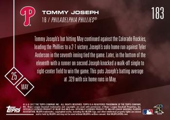 2017 Topps Now #183 Tommy Joseph Back