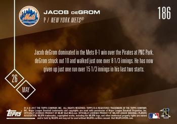 2017 Topps Now #186 Jacob deGrom Back