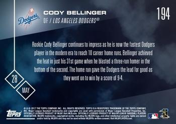 2017 Topps Now #194 Cody Bellinger Back