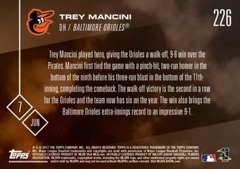 2017 Topps Now #226 Trey Mancini Back