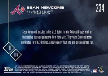 2017 Topps Now #234 Sean Newcomb Back
