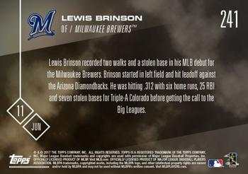 2017 Topps Now #241 Lewis Brinson Back