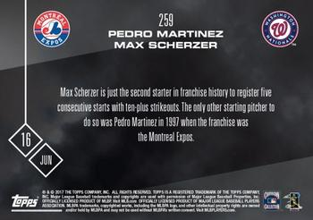 2017 Topps Now #259 Pedro Martinez / Max Scherzer Back