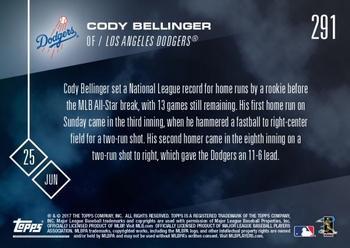 2017 Topps Now #291 Cody Bellinger Back