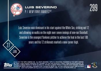 2017 Topps Now #299 Luis Severino Back