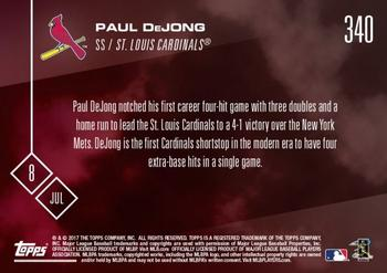 2017 Topps Now #340 Paul DeJong Back