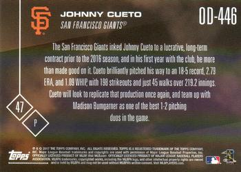 2017 Topps Now Road to Opening Day San Francisco Giants #OD-446 Johnny Cueto Back