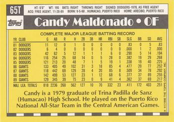 1990 Topps Traded #65T Candy Maldonado Back