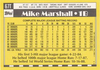 1990 Topps Traded #67T Mike Marshall Back