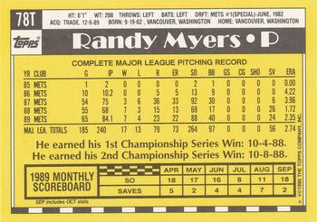 1990 Topps Traded #78T Randy Myers Back
