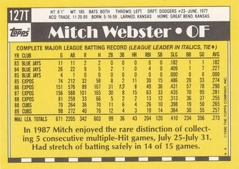 1990 Topps Traded #127T Mitch Webster Back
