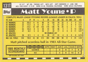 1990 Topps Traded #131T Matt Young Back
