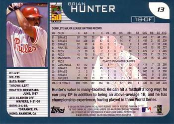 2001 Topps #13 Brian R. Hunter Back