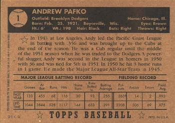 2001 Topps Archives #11 Andy Pafko Back