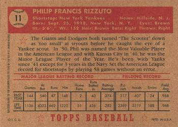 2001 Topps Archives #12 Phil Rizzuto Back