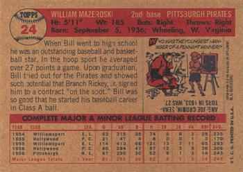 2001 Topps Archives #28 Bill Mazeroski Back