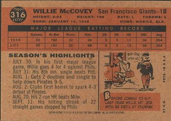 2001 Topps Archives #35 Willie McCovey Back