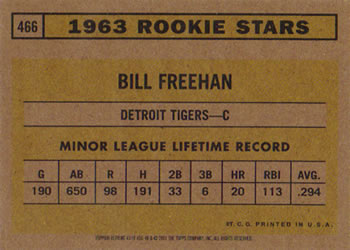 2001 Topps Archives #43 Bill Freehan Back