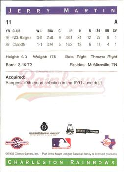 1993 Classic Best Charleston Rainbows #11 Jerry Martin Back