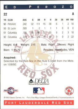 1993 Classic Best Fort Lauderdale Red Sox #22 Ed Perozo Back