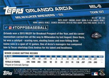 2017 Topps Milwaukee Brewers #MIL-8 Orlando Arcia Back