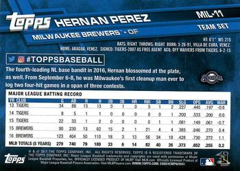 2017 Topps Milwaukee Brewers #MIL-11 Hernan Perez Back
